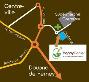 plan d'accès Happy Panier Ferney-Voltaire